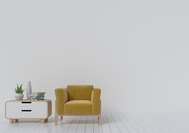 Modern interior room with armchair yellow and cabinet