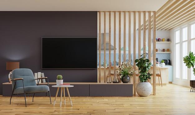 Современный интерьер комнаты с мебелью. 3d рендеринг