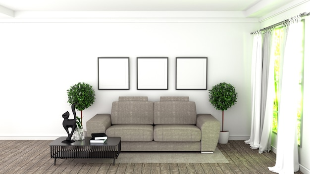 Modern interior room with sofa and green plants in white room