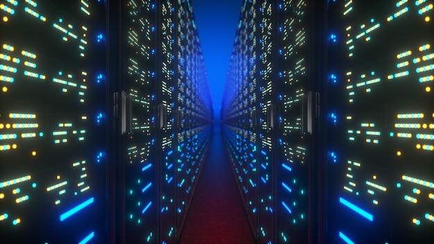 Modern interior server room data center