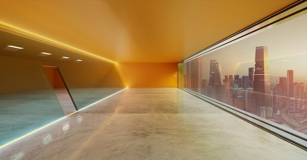 Modern interior view of orange led lighting luminaries loop glass wall facade with panoramic windows and city view.