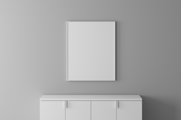 Modern interior wall font view with empty frame and cabinet for put material or picture. minimal concept