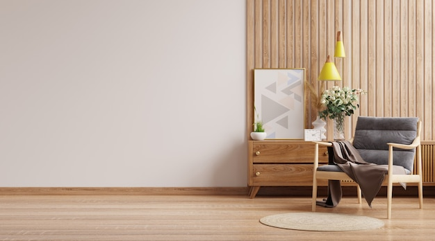 Modern interior wall mockup with armchair on empty white wall background.3d rendering