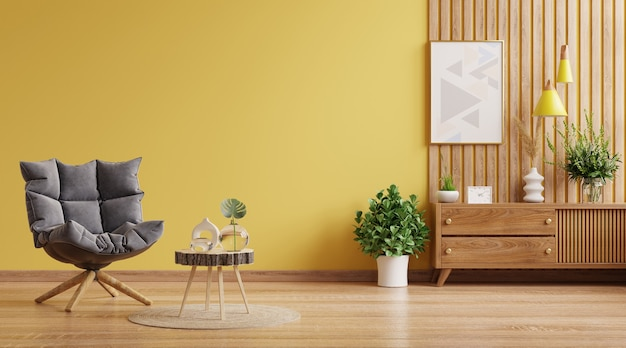 Modern interior wall mockup with armchair on empty yellow wall background.3d rendering