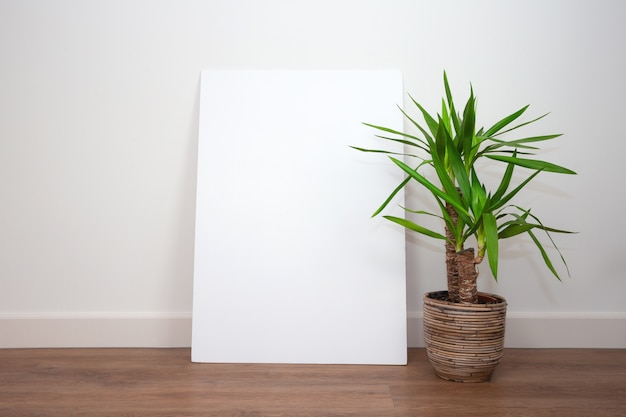 Modern interior, white wall with green plants on pvc floor against white wall with blank empty poster or frame for text. retro