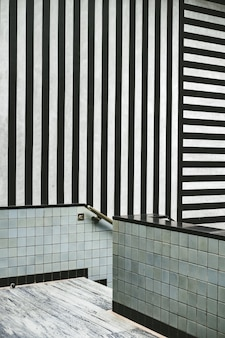 Modern interior with black and white stripes