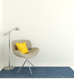 빈 흰색 벽 근처 회색 안락의 자와 현대적인 인테리어. 3d 렌더링.