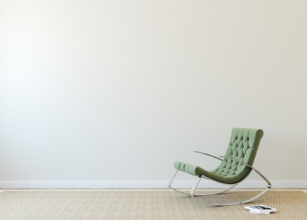Modern interior with green armchair near beige wall. photo on book cover was made by me.