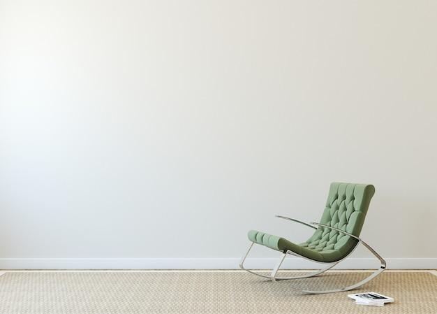 ベージュの壁の近くに緑のアームチェアを備えたモダンなインテリア。本の表紙の写真は私が作ったものです。