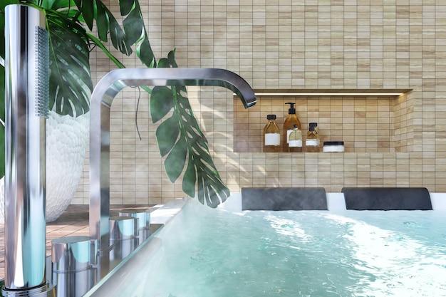 Современный интерьер с джакузи, бутылкой вина, растениями, деревянным полом и стеной из светлого кирпича