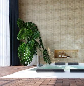 자쿠지, 와인 병, 식물, 나무 바닥 및 밝은 벽돌 벽 배경이있는 현대적인 인테리어