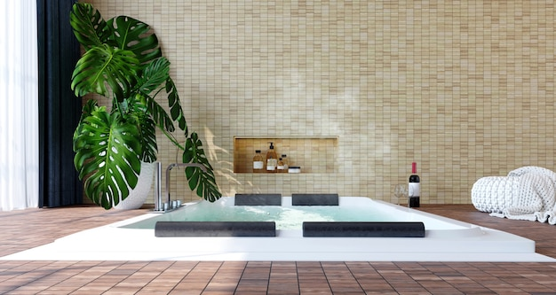 Modern interior with jacuzzi, wine bottle, plants, wood floor and light bricks wall background