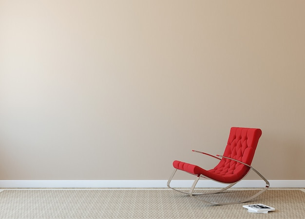 Современный интерьер с красным креслом у бежевой стены. фотография на обложке книги сделана мной.