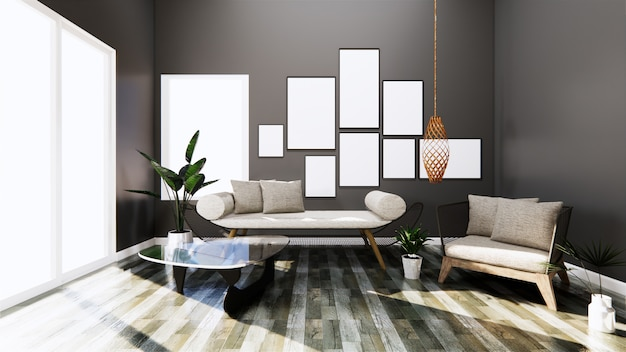 Modern interior with sofa and arm chair on room dark wall and floor wooden tiles. 3d rendering
