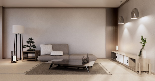 Modern japanese living room interior, sofa and cabinet table on room white wall background.3d rendering