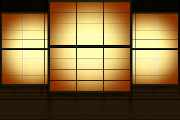 Modern japanese style sliding paper door with gradient candle light wall background.