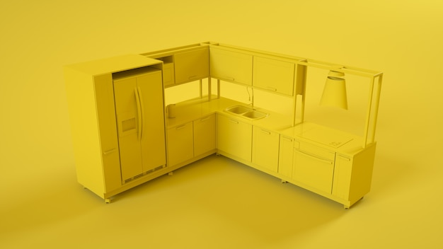 Modern kitchen 3d interior isolated on yellow background. 3d illustration.