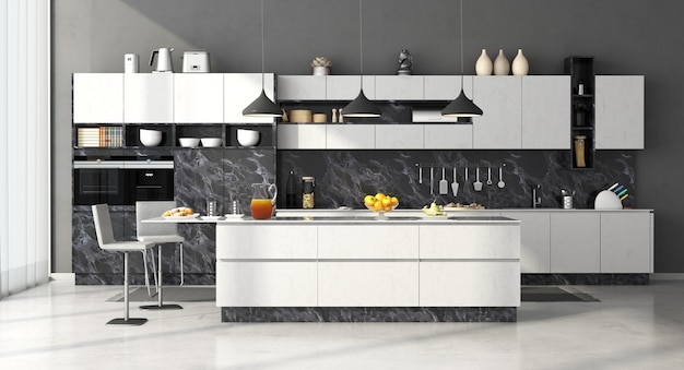 Modern kitchen in black and white marble with island and stools
