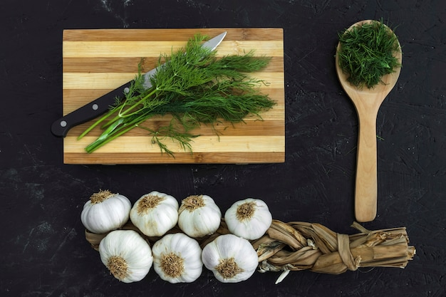Modern kitchen composition with healthy ingredients