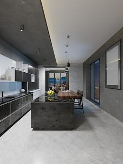 긴 중앙 아일랜드와 검은색 대리석 조리대, 스테인리스 스틸 장비가 장착된 바 테이블이 있는 현대적인 주방 디자인. 3d 렌더링