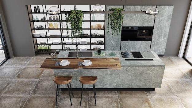 Modern kitchen design with kitchen cabinet, shelf and chairs