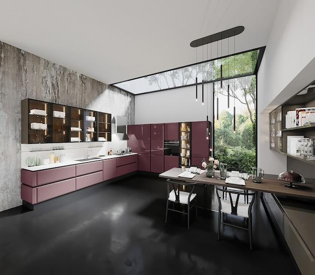 분홍색 부엌 캐비닛, 테이블 및 의자가있는 현대 부엌 디자인