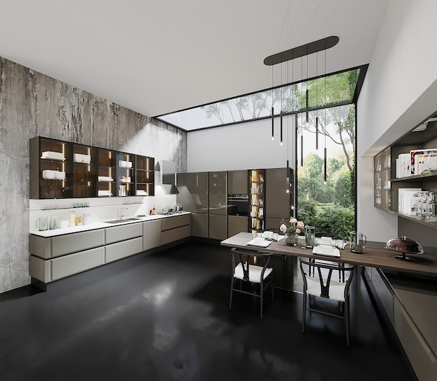 Modern kitchen design with table and chair