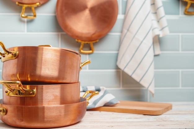 Modern kitchen details with copper kitchenware close up