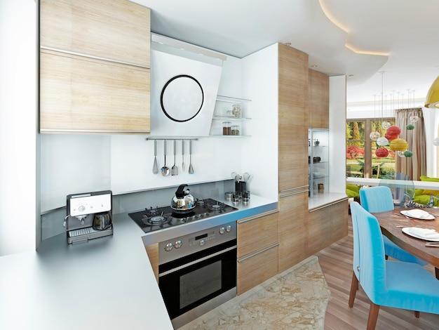 6 인용 밝은 목재 식탁이있는 현대적인 주방 식당