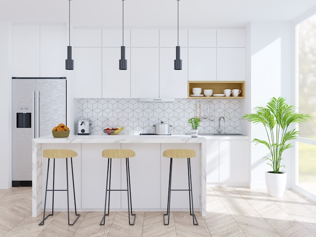 Modern kitchen and dinning room