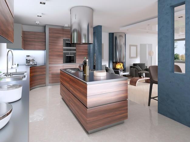 현대적인 스타일의 현대적인 주방. 3d 렌더링