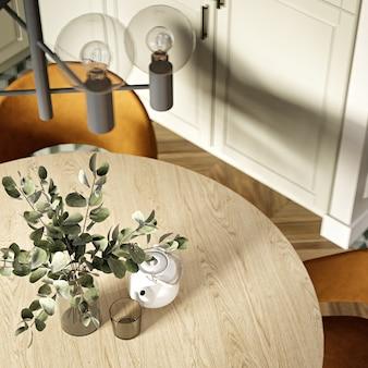 Современный интерьер кухни в теплых тонах. 3d-рендеринг. вид сверху