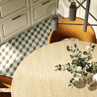 Современный интерьер кухни в теплых тонах. 3d-рендеринг. вид сверху.