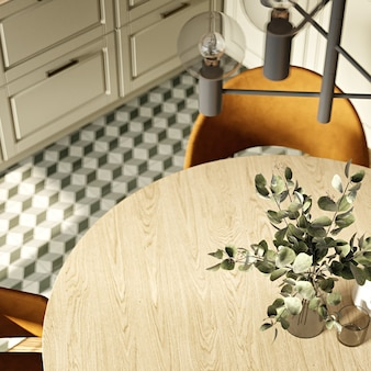 Modern kitchen interior in warm colors. 3d rendering. top view.
