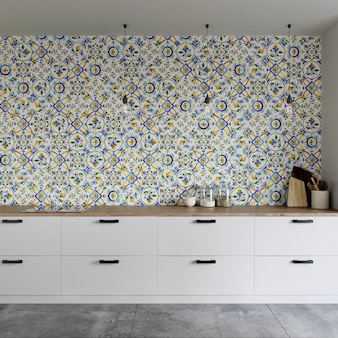 Интерьер современной кухни с фартуком из керамической мозаики