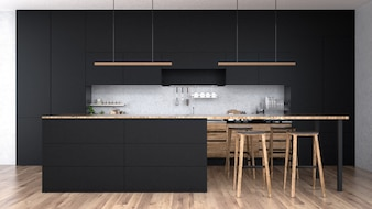modern kitchen interior with furniture3d rendering - Kitchen Interior