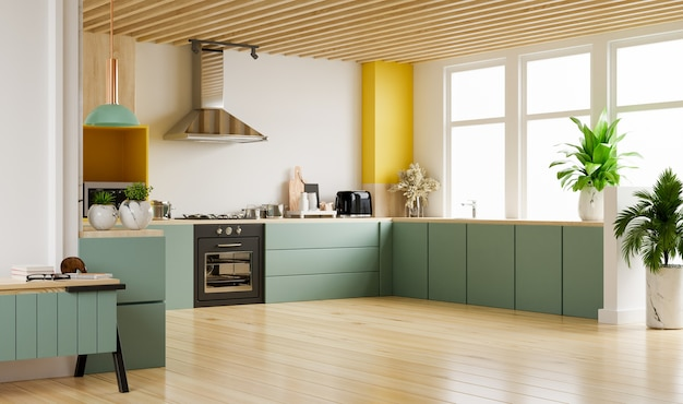 家具付きのモダンなキッチンインテリア。白い壁のスタイリッシュなキッチンインテリア。 3dレンダリング