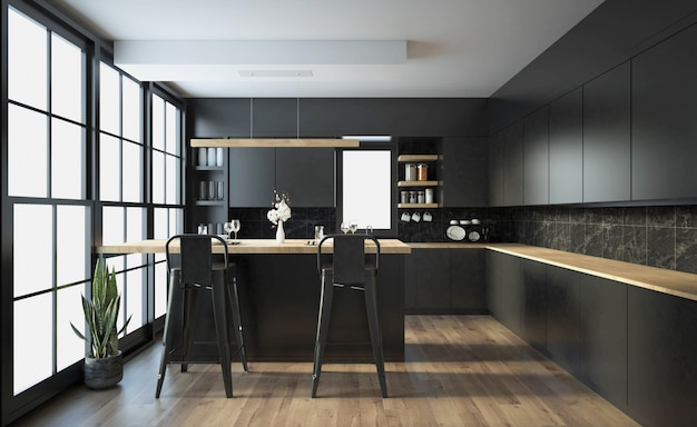 Modern kitchen interior with furniture.