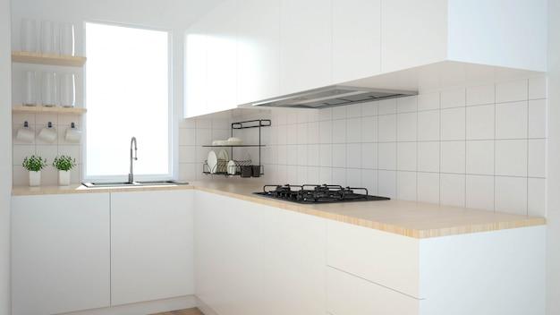 Modern kitchen interior with furniture.