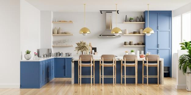 Современный интерьер кухни с мебелью. стильный интерьер кухни с белой стеной. 3d визуализация