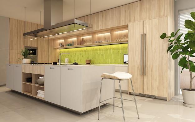エコスタイルの木製のファサードを持つモダンなキッチンインテリア。 3dレンダー