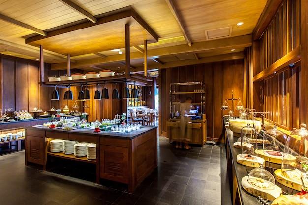 Modern kitchen and restaurant .