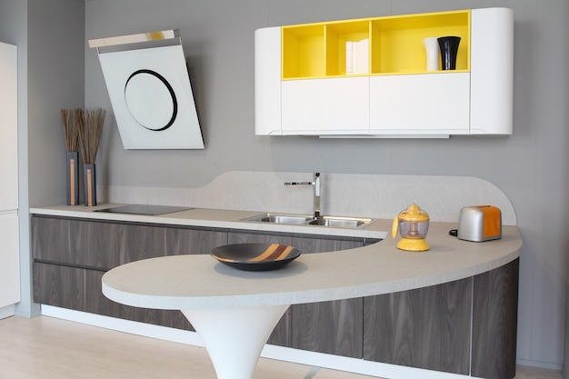 Modern kitchen white and yellow