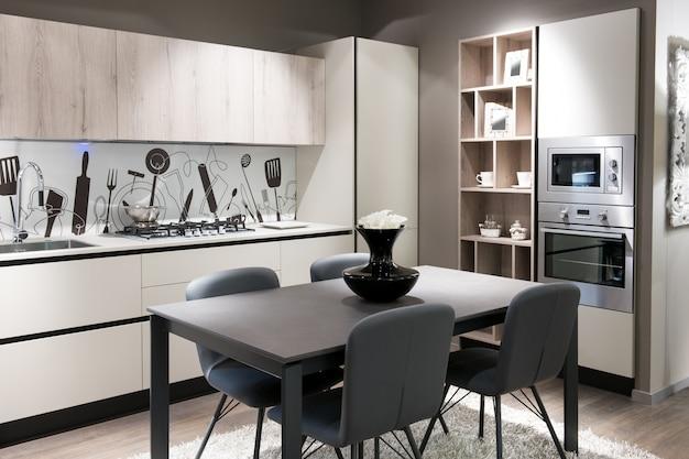 Modern kitchen with artistic splash back