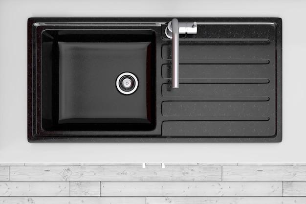 검은색 주방 싱크대와 수돗물이 있는 현대적인 주방은 극도의 근접 촬영을 볼 수 있습니다. 3d 렌더링