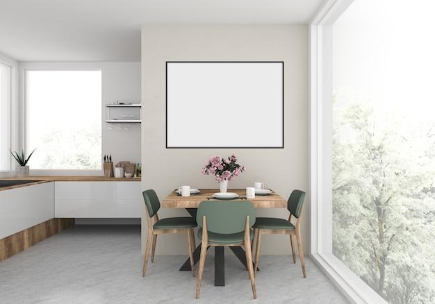 Modern kitchen with empty blank horizontal frame