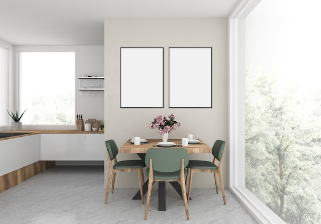 Modern kitchen with empty doble frames