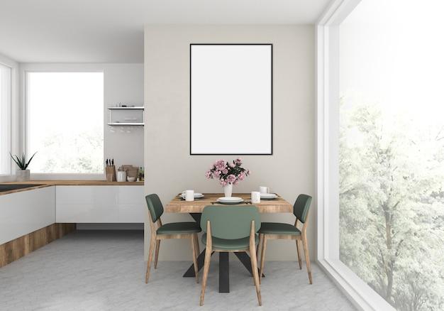Modern kitchen with empty vertical frame