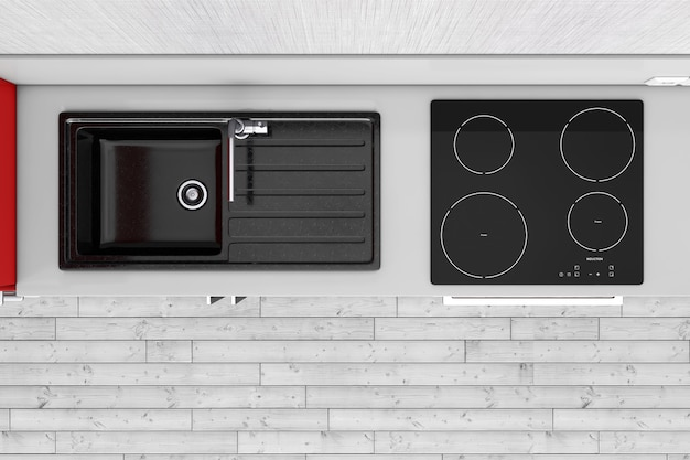 Modern kitchen with granite sink, stainless steel water tap and induction cooktop stove top view extreme closeup. 3d rendering