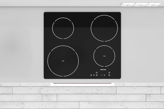 Modern kitchen with induction cooktop stove top view extreme closeup. 3d rendering